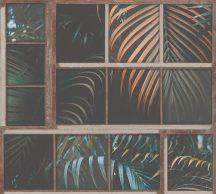 As-Creation Industrial 37740-1 Natur/Ipari stílus ablakkereteken áttűnő pálmalevelek barna zöld narancs fekete tapéta