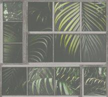 As-Creation Industrial 37740-2 Natur/Ipari stílus ablakkereteken áttűnő pálmalevelek szürke árnyalatok zöld fekete tapéta