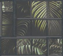 As-Creation Industrial 37740-3 Natur/Ipari stílus ablakkereteken áttűnő pálmalevelek sötétszürke zöld fekete tapéta