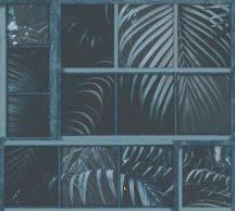 As-Creation Industrial 37740-4 Natur/Ipari stílus ablakkereteken áttűnő pálmalevelek kék árnyalatok fekete tapéta