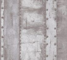 As-Creation Industrial 37743-2 Natur/Ipari stílus szegecselt vaslemezek szürke és szürkésfehér árnyalatok fémes hatás tapéta