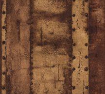 As-Creation Industrial 37743-3 Natur/Ipari stílus szegecselt vaslemezek barna árnyalatok fekete fémes hatás tapéta