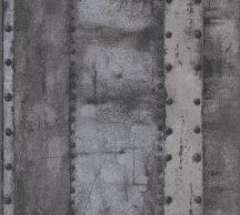 As-Creation Industrial 37743-4 Natur/Ipari stílus szegecselt vaslemezek sötétszürke és antracit árnyalatok fémes hatás tapéta