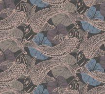 As-Creation Metropolitan Stories II, 37859-4 Etno Natur Koi pontyok tavirózsákkal kék fekete rézszín fémes hatás tapéta