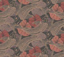 As-Creation Metropolitan Stories II, 37859-5 Etno Natur Koi pontyok tavirózsákkal barna vörös/vörösesbarna fekete fémes hatás tapéta