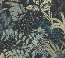 As-Creation Metropolitan Stories II, 37860-3 Natur lenyűgöző szines levélmintázat szürke bézs kék zöld fekete tapéta
