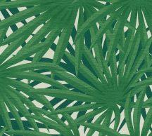 As-Creation Metropolitan Stories II, 37861-3  Natur Trópusi stilizált pálmalevelek krémfehér zöld árnyalatok fémes csillogó hatás tapéta