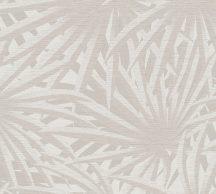 As-Creation Metropolitan Stories II, 37861-4  Natur Trópusi stilizált pálmalevelek törtfehér szürke szürkésbézs fémes csillogó hatás tapéta