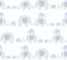 As-Creation Little Love 38113-1 Gyerekszobai Játékos elefántok egymás hegyén de főleg hátán fehér szürke kék tapéta