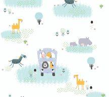 As-Creation Little Love 38114-1 Gyerekszobai Szafaribusz fehér szines tapéta