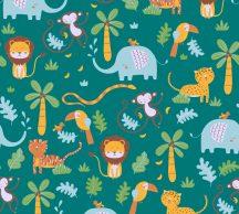 As-Creation Little Love 38115-1 Gyerekszobai a dzsungel állatai zöld szines tapéta