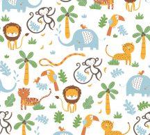 As-Creation Little Love 38115-2 Gyerekszobai a dzsungel állatai fehér szines tapéta