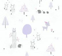 As-Creation Little Love 38117-1 Gyerekszobai Natur erdő nyuszikkal és sünökkel fehér levendula szürke tapéta