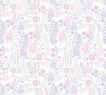 As-Creation Little Love 38118-1 Gyerekszobai Natur növények levelek virágok fehér rózsaszín lila tapéta