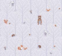 As-Creation Little Love 38119-1 Gyerekszobai Natur erdei állatok fehér szürke barna vörös tapéta