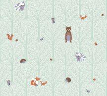 As-Creation Little Love 38119-2 Gyerekszobai Natur erdei állatok zöld szürke barna vörös tapéta