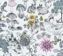 As-Creation Little Love 38120-1 Gyerekszobai virágok gombák állatok és az elvarázsolt kastéy fehér fekete szines tapéta