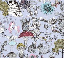 As-Creation Little Love 38120-2 Gyerekszobai virágok gombák állatok és az elvarázsolt kastéy szürke/kékesszürke fekete szines tapéta