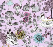 As-Creation Little Love 38120-3 Gyerekszobai virágok gombák állatok és az elvarázsolt kastéy rózsaszín fekete szines tapéta