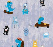 As-Creation Little Love 38121-1 Gyerekszobai Monster Szörnyecskék kék szürke sárga barna fekete tapéta