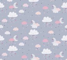 As-Creation Little Love 38125-1 Gyerekszobai Égi játék felhők hold csillagok szürke rózsaszín fehér pink fekete tapéta