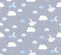 As-Creation Little Love 38125-2 Gyerekszobai Égi játék felhők hold csillagok szürke kék fehér fekete tapéta