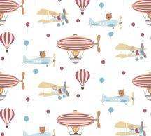 As-Creation Little Love 38126-1 Gyerekszobai Állatok és a repülés léghajók repülők fehér szines tapéta