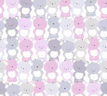 """As-Creation Little Love 38129-2 Gyerekszobai """"Tömeges"""" Teddy mackó megjelenítés fehér rózsaszín szürke szürkésbézs tapéta"""