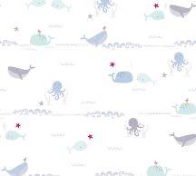 As-Creation Little Love 38130-1 Gyerekszobai Tengeri állatok cetek fehér szürke kék piros/pink tapéta