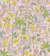 Eijffinger Rice 2, 383501 Natur romantikus virágos rózsaszín kék zöld sárga krém tapéta