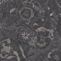 Eijffinger ENSO 386511  rusztikus virágok növények bézs fekete szürke csillogó fémes fény tapéta