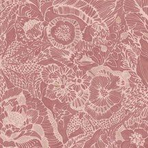 Eijffinger ENSO 386515  rusztikus virágok növények bézs pink piros csillogó fémes fény tapéta