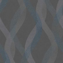Sintra Livio 402665 Geometrikus grafikus hullámminta sötétszürke ezüstszürke kék árnyalatok enyhe csillogó hatás tapéta