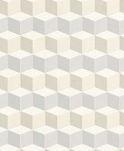 Rasch Uptown 402711 Geometrikus 3D kockák krém bézs szürke szürkéskék tapéta