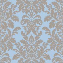 Livio 402849  Klasszikus nagyformátumú barokk díszítőminta kék barna csillogó mintafelület