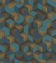Rasch Denzo 403909 Grafikus 3D kockák halmaza világos és sötét petrol arany fekete tapéta
