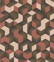 Rasch Denzo 403916 Grafikus 3D kockák halmaza rózsaszín korallszín arany fekete tapéta