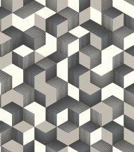 Rasch Denzo 403923 Grafikus 3D kockák halmaza fehér szürke ezüst kékes ezüst fekete tapéta