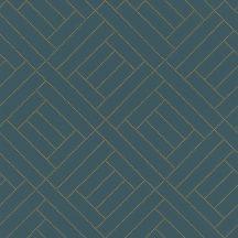 Rasch Denzo 404135 Geometrikus káróminta arany pontokkal kialakítva petrol arany tapéta