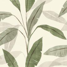 Rasch Denzo 407525 Natur egzotikus nagyformátumú levelek krémfehér zöld szürke szürkésbézs tapéta