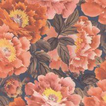 """Rasch KIMONO 408348  Natur Virágos """"teljes virágzásban"""" természeti látvány sötérkék barna/zöldesbarna intenzív narancsvörös tapéta"""