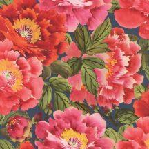"""Rasch KIMONO 408355  Natur Virágos """"teljes virágzásban"""" természeti látvány indigókék zöld piros rózsaszín tapéta"""