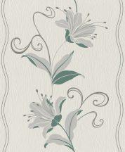 Rasch Sofia 408843 Absztrakt virágminta szürkésfehér szürke mályva fenyőzöld tapéta