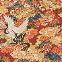 Rasch KIMONO 409345 Natur Etno Darumadarak virágos felhőtengeren textil struktúra epervörös rózsaszín sárga szines tapéta