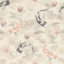 Rasch KIMONO 409420 Natur Koi halak tavirózsa tengeren krémfehér fekete-fehér narancs-fehér kavics szürke világos rózsaszín bézs tapéta