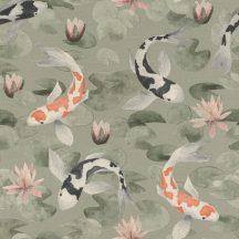 Rasch KIMONO 409437 Natur Koi halak tavirózsa tengeren világoszöld narancs-fehér fekete-fehér halvány rózsaszín zöld tapéta