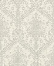 Rasch Saphira 420517 Klasszikus pazar barokk díszítőminta krémfehér ezüstszürke fényes mintafelület tapéta