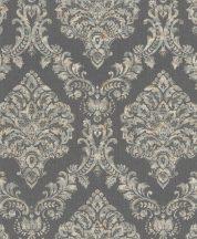 Rasch Saphira 421156 Klasszikus impozáns rokokó díszítőminta antracitszürke krém szürke barna finom színátmenet tapéta