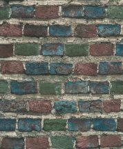 Rasch Factory IV 428070 Natur/Ipari design meszelt érdes felületű téglafal szürke kék zöld rozsdavörös tapéta