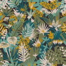 Rasch ZOYA 431520 Botanikus virágos fekete pasztell türkiz répasárga vízkék páfrányzöld fehér tapéta